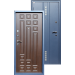 Входная дверь ГОРОД МАСТЕРОВ Тура 850*2050 левая металлик(sahara blue) вн.мдф 16мм Венге ребро,(пвх) 2з/хром