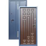 Входная дверь ГОРОД МАСТЕРОВ Тура 850*2050 правая металлик(sahara blue) вн.мдф 16мм Венге ребро,(пвх) 2з/хром