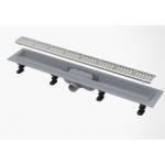 Желоб ALCA PLAST APZ101-750 LOW водоотводящий  с порогами, для перфорированной решетки, с горизонтальным стоком
